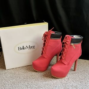 Stilleto Heel Lace Up Red Booties with Black Cuff
